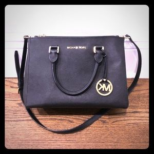 Michael Kors Black Satchel with two zippers